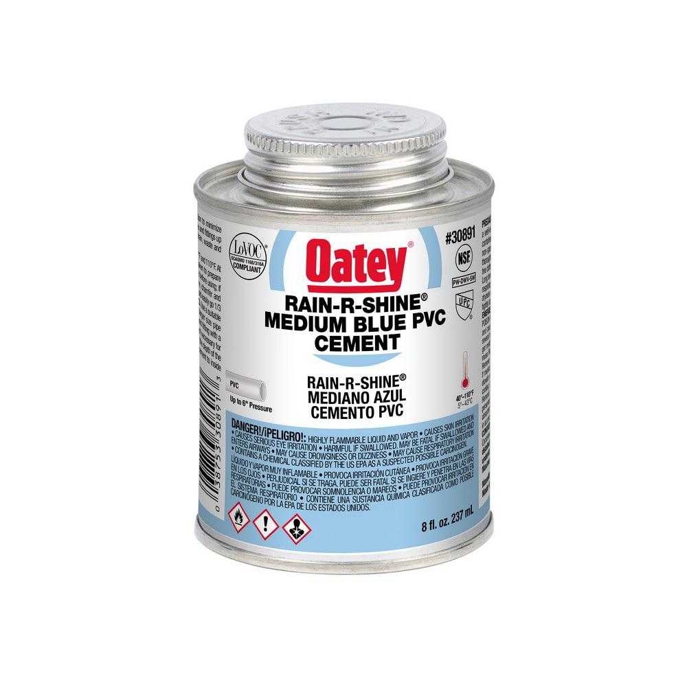 Oatey® RAIN-R-SHINE® 30891 Medium Duty PVC Cement, 8 oz Can, Blue