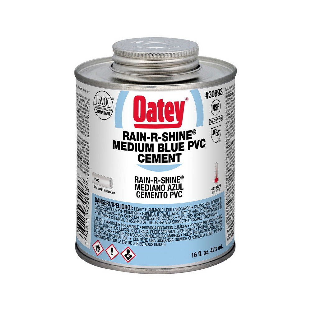 Oatey® RAIN-R-SHINE® 30893 Medium Duty PVC Cement, 16 oz Can, Blue