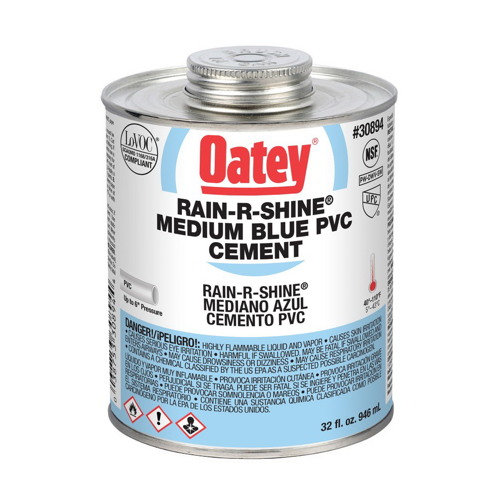 Oatey® RAIN-R-SHINE® 30894 Medium Duty PVC Cement, 32 oz Can, Blue