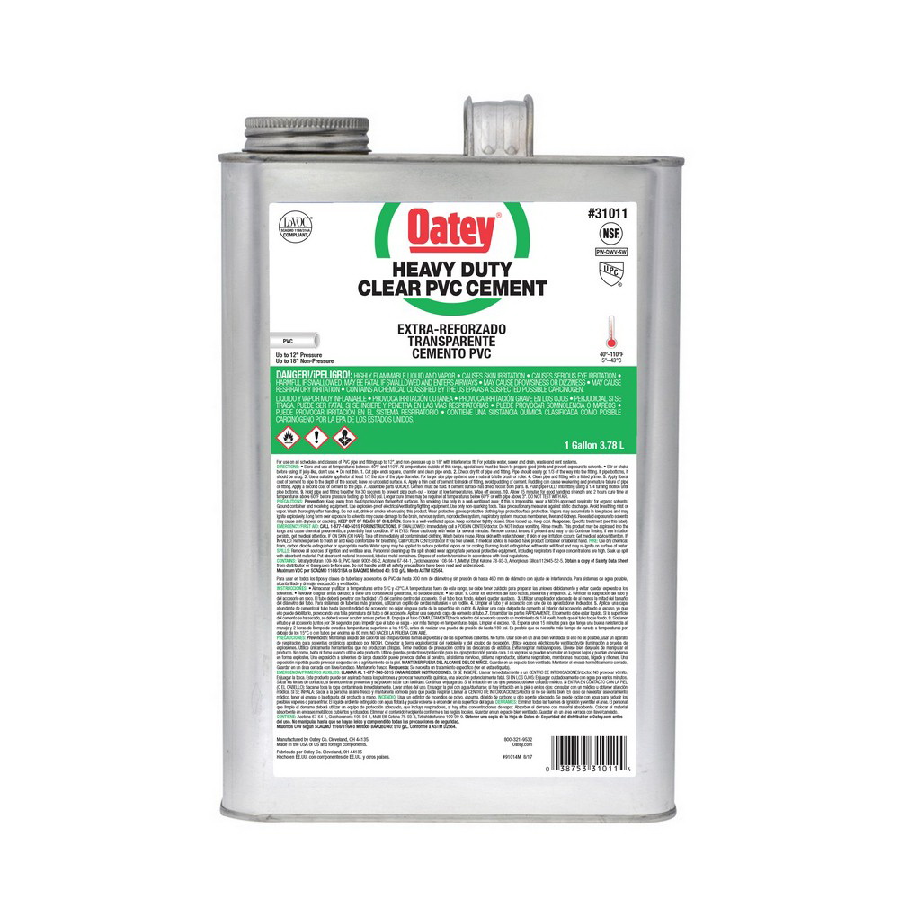 Oatey® 31011 Heavy Duty PVC Cement, 1 gal Mouth Can, Clear
