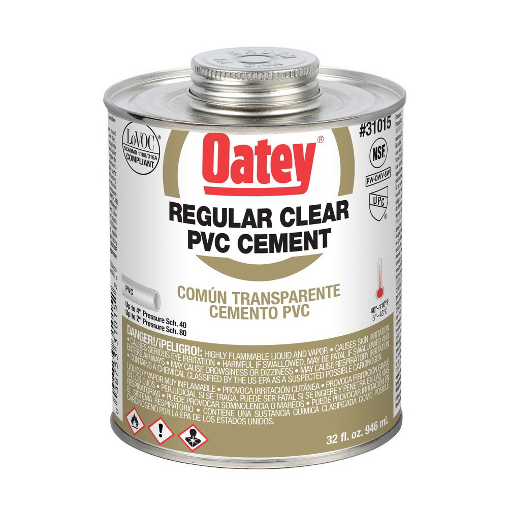 Oatey® 31015 Regular PVC Cement, 32 oz Can, Clear