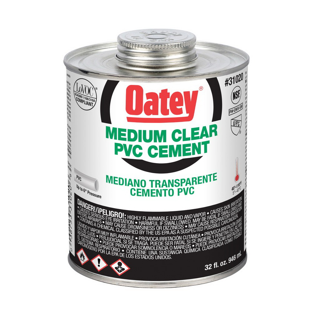 Oatey® 31020 Medium Duty PVC Cement, 32 oz Can, Clear