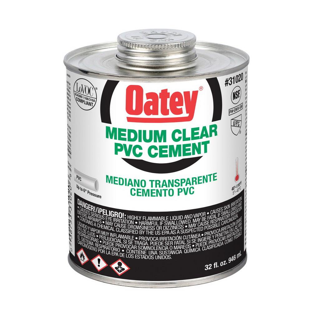 Oatey® 31020 Medium Duty PVC Cement, 32 oz Can, Clear