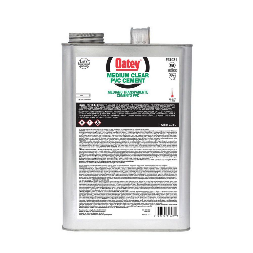 Oatey® 31021 Medium Duty PVC Cement, 1 gal Can, Clear