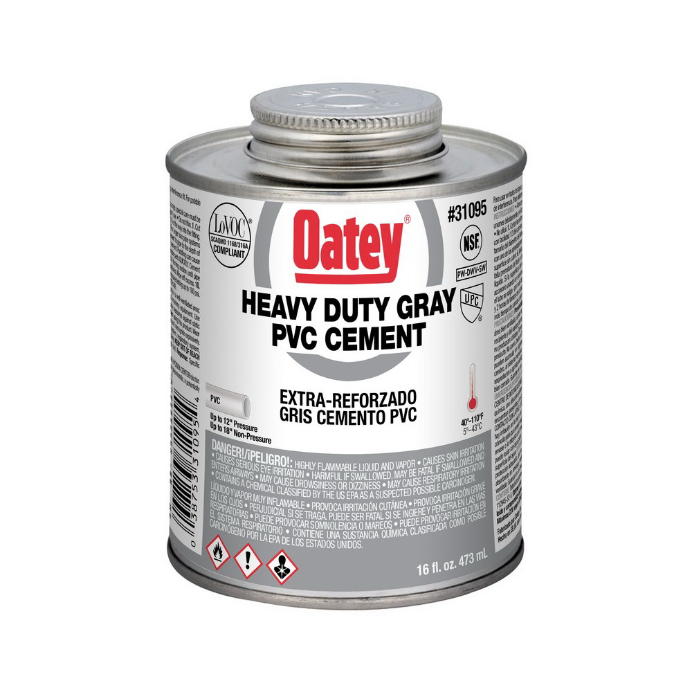 Oatey® 31095 Heavy Duty PVC Cement, 16 oz Can, Gray