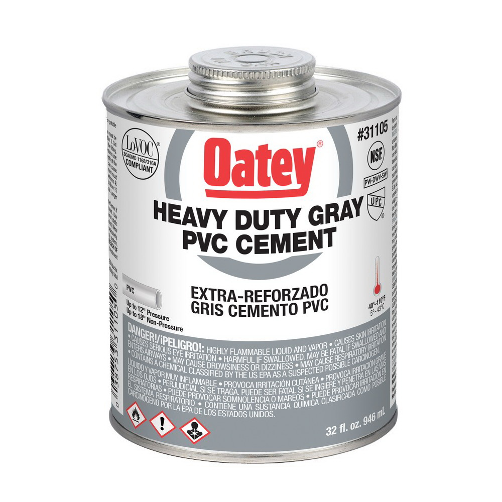 Oatey® 31105 Heavy Duty PVC Cement, 32 oz Can, Gray