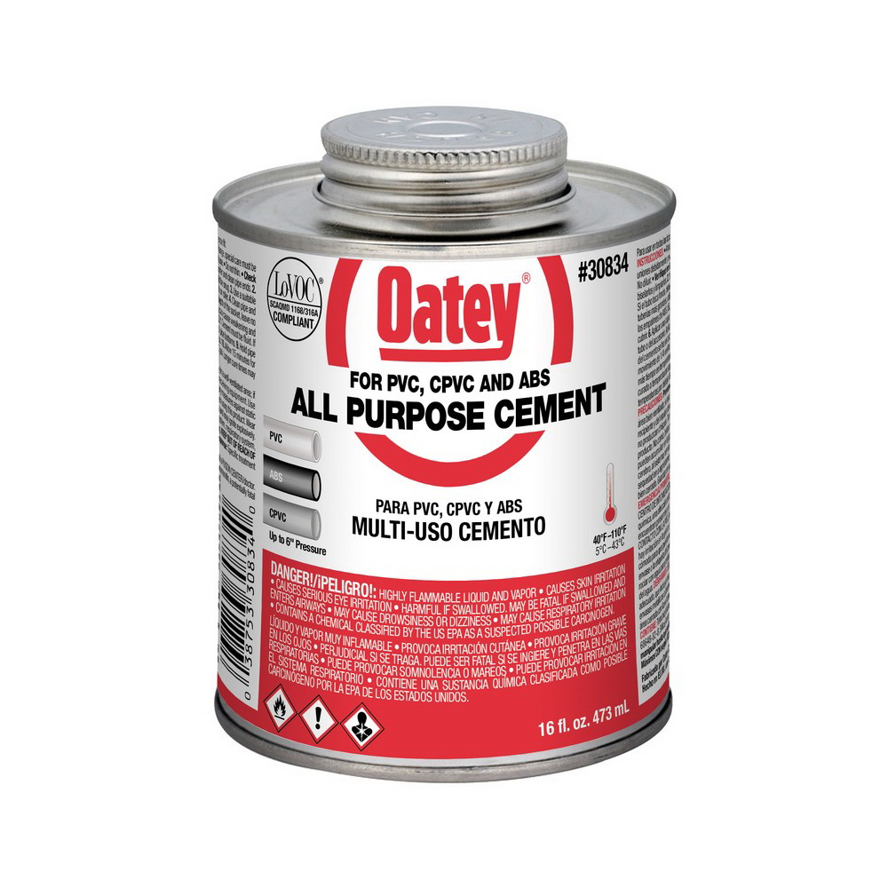 Oatey® 30834 All Purpose Cement, 16 oz Can, Milky Clear