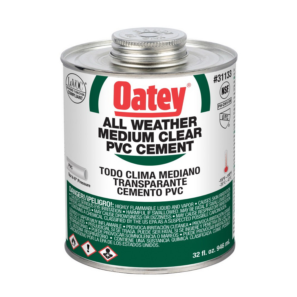Oatey® 31133 All Weather PVC Cement, 32 oz Can, Clear