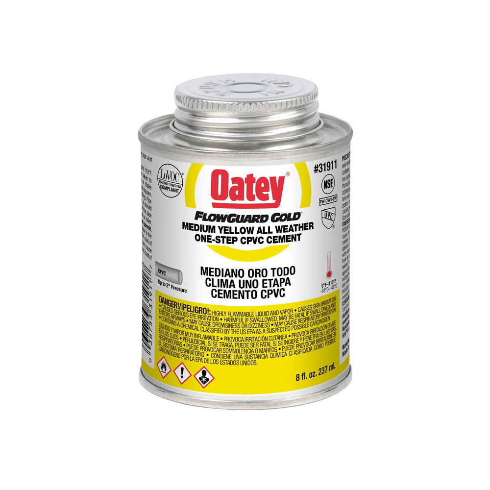Oatey® FlowGuard Gold® 31911 1-Step CPVC Cement, 8 oz Can, Yellow