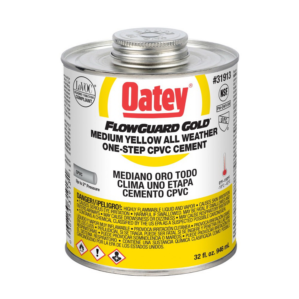 Oatey® FlowGuard Gold® 31913 1-Step CPVC Cement, 32 oz Can, Yellow