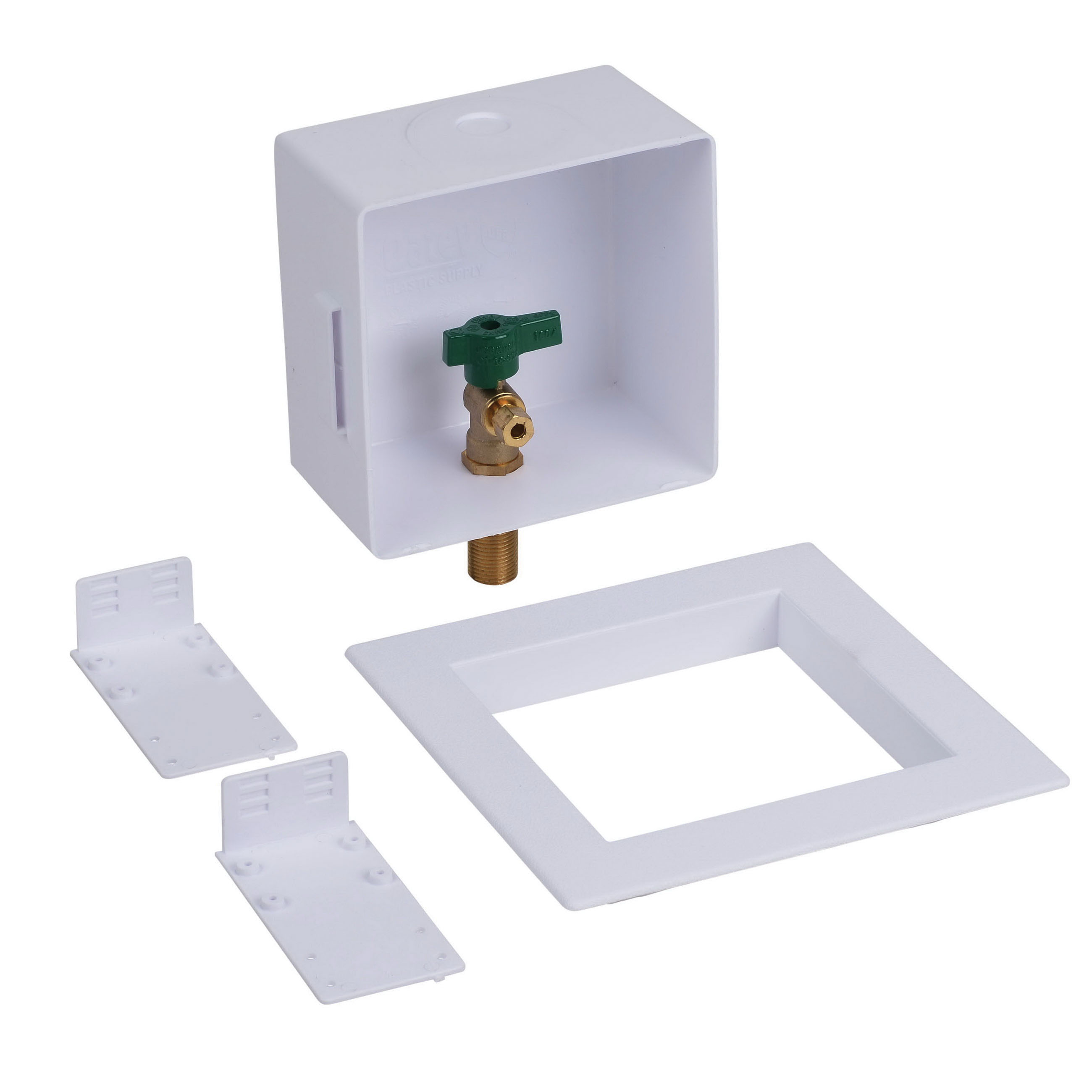 Oatey® 39156 White Polystyrene Square Ice Maker Outlet Box, 1/2 in, Copper