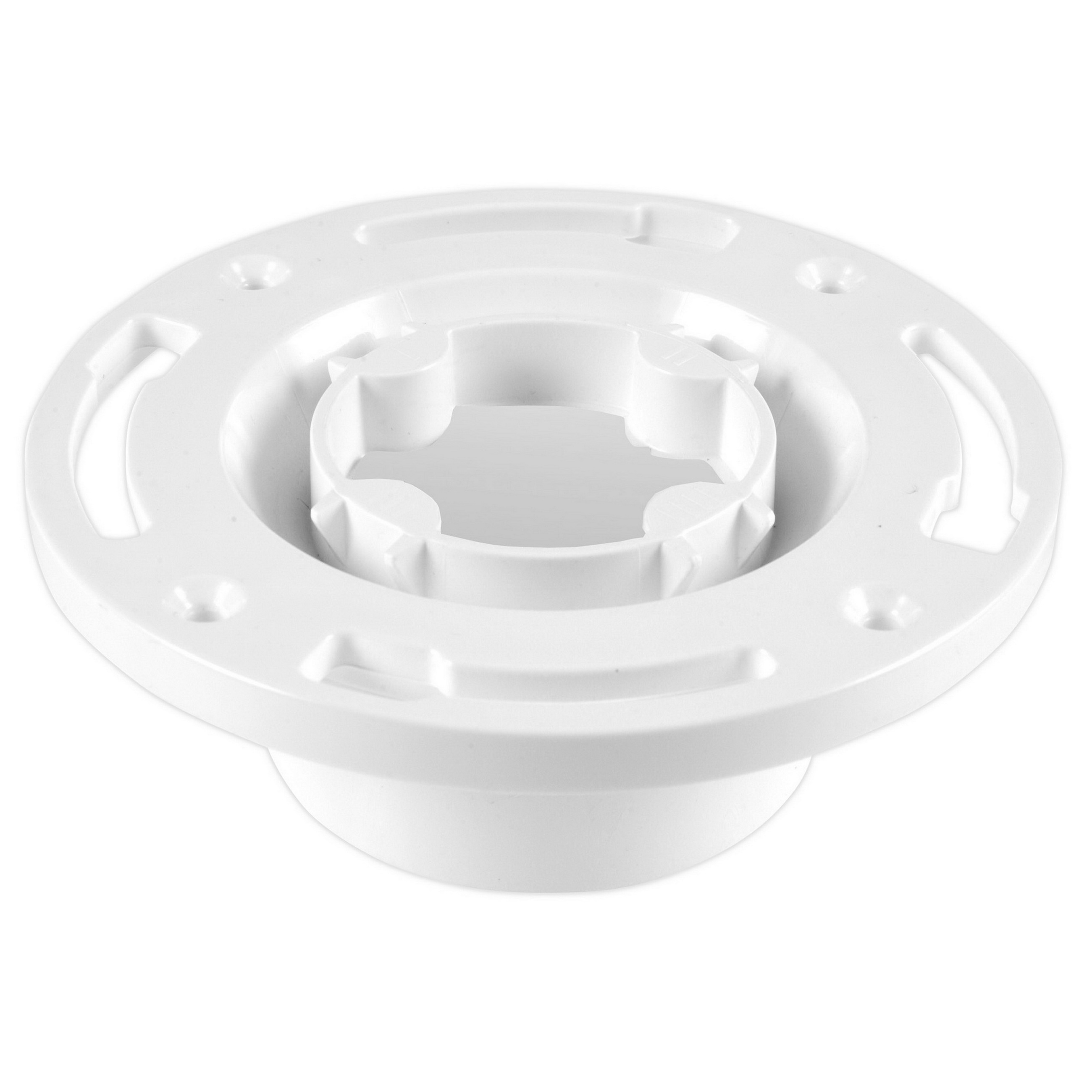 Oatey® Easy Tap™ 43557 White PVC SCH 40 Knock Out Closet Flange with Plastic Ring, 3 - 4 in