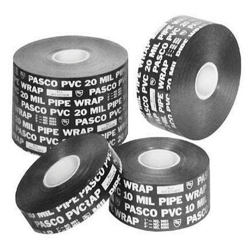 PASCO 9064-R Printed Pipe Wrap Tape, 4 in W x 100 ft L x 20 mil T, Black