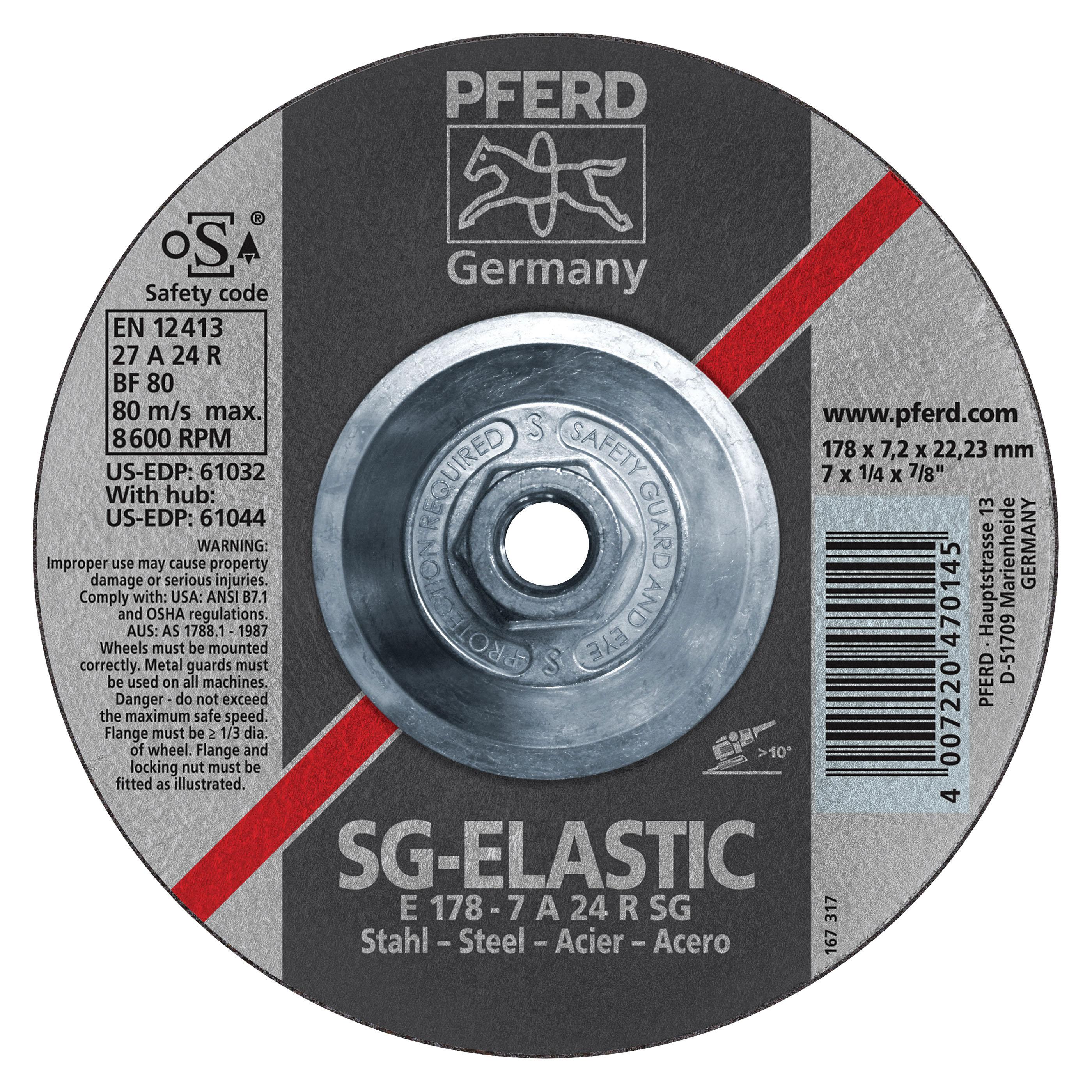 PFERD 61026 Aluminum Oxide Performance Line Depressed Center Wheel, 4-1/2 in Dia x 1/4 in THK, 13300 rpm, Grit 24