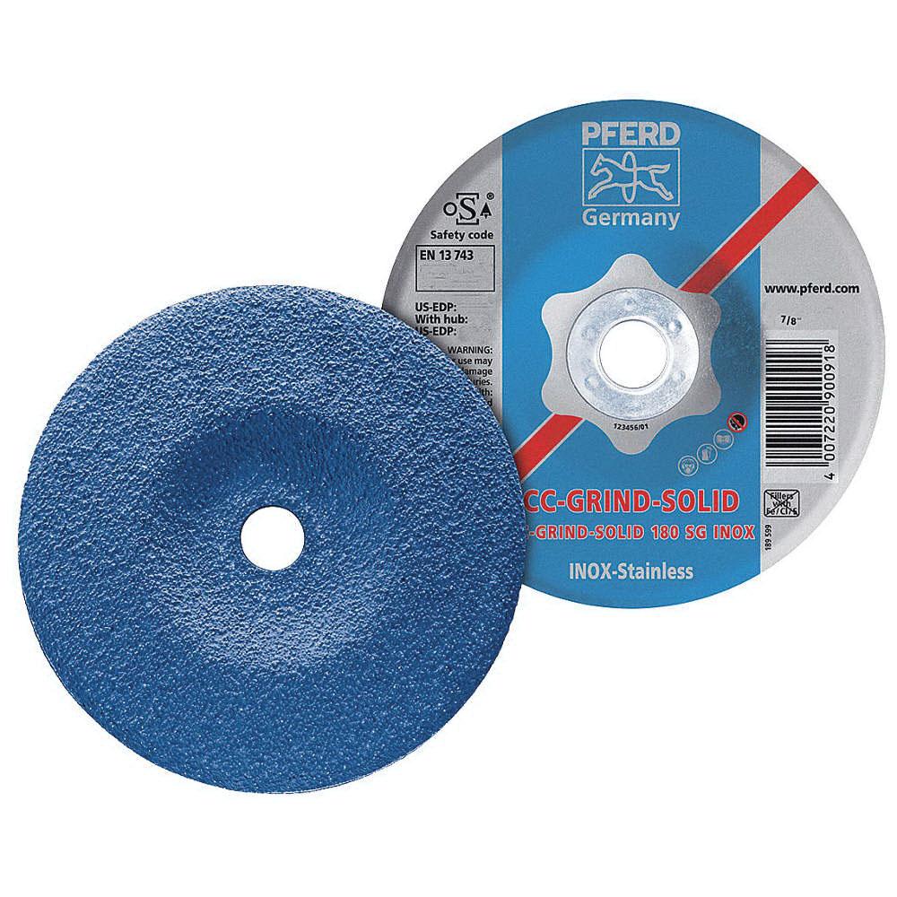 PFERD 61235 Aluminum Oxide Depressed Center Wheel, 4-1/2 in Dia x 1/8 in THK, 13300 rpm, Grit 24