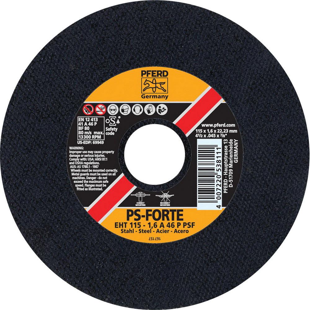 PFERD 69949 Aluminum Oxide General Purpose Universal Line Type 1 Cut Off Wheel, 4-1/2 in Dia x 0.045 in THK, 7/8 in Arbor