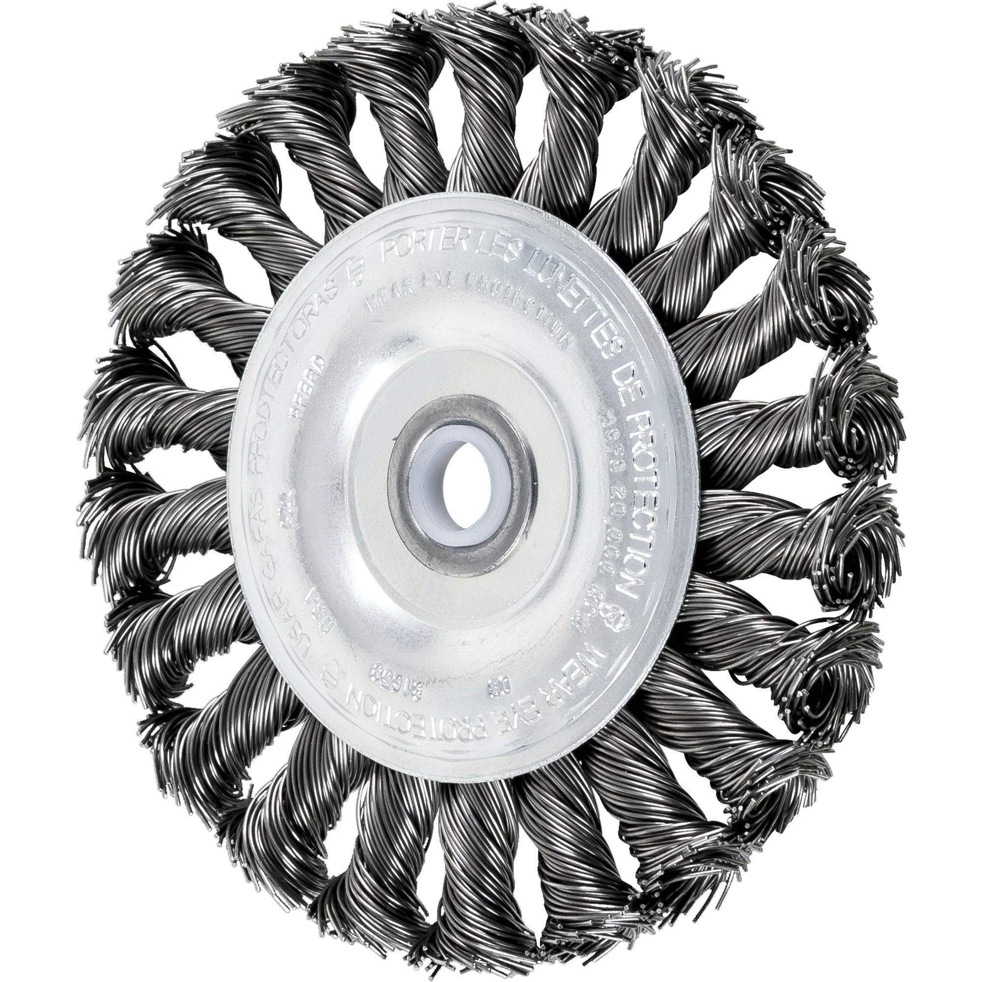 PFERD 763926 Carbon Steel Knot Wire Standard Twist Wheel Brush, 4 in Dia, 1/2 in, 20000 rpm