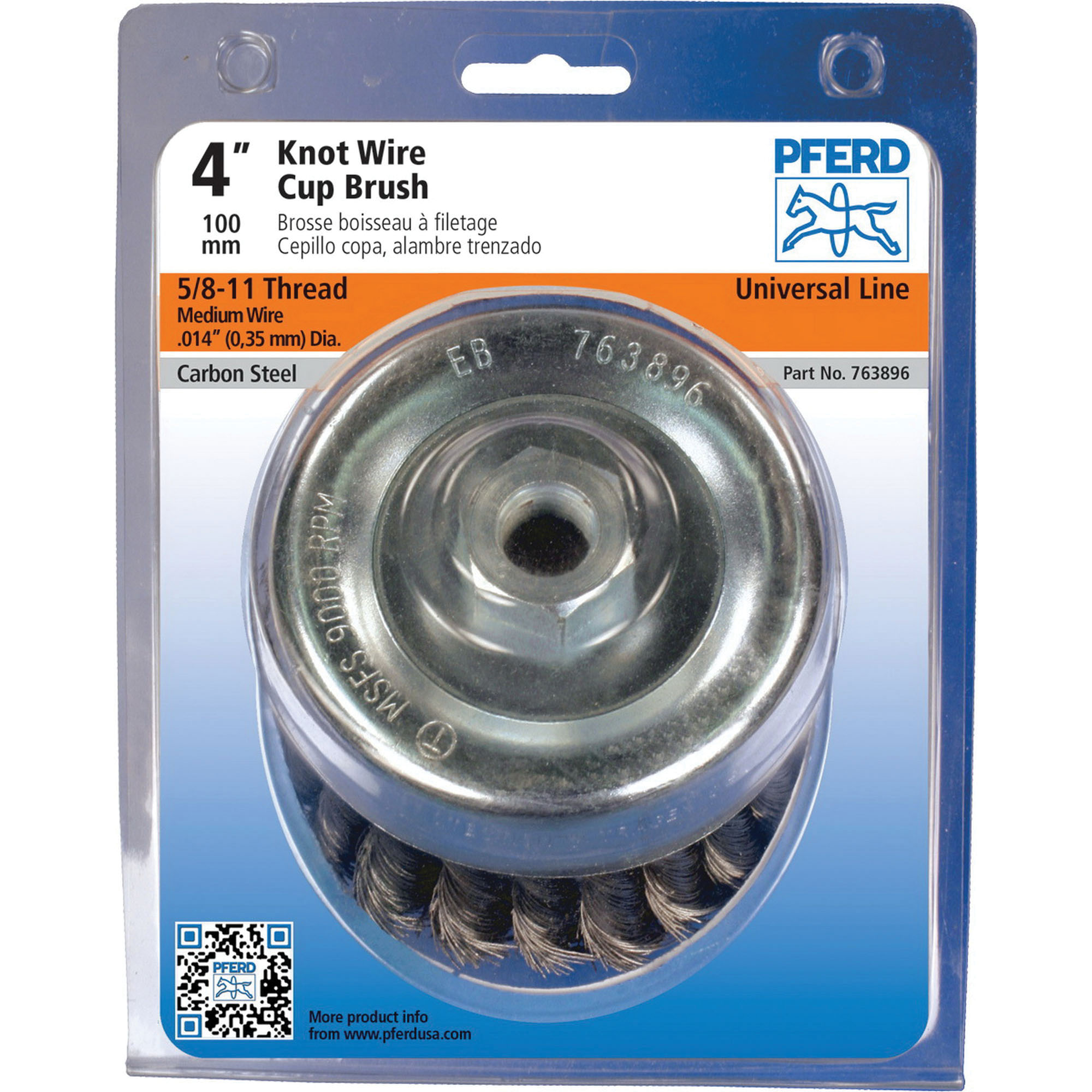 PFERD 764268 Stainless Steel Knot Wire Unbridled Cup Brush, 2-3/4 in Dia, 1/2 in Arbor/Shank, 14000 rpm