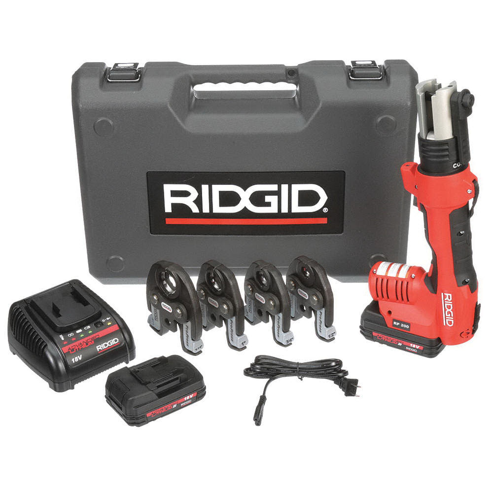 RIDGID® 43428 Press Tool Kit with ProPress Jaws, 13 in L, 1/2 - 1-1/4 in Copper and Stainless Steel, 3/8 - 1-1/2 in PEX, 5400 lb