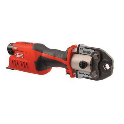 RIDGID® 57363 Red/Gray Cordless Press Tool Kit, 1/2 - 1-1/4 in Copper/Stainless Steel, 1/2 - 1-1/2 in PEX/Multilayer, 5400 lb