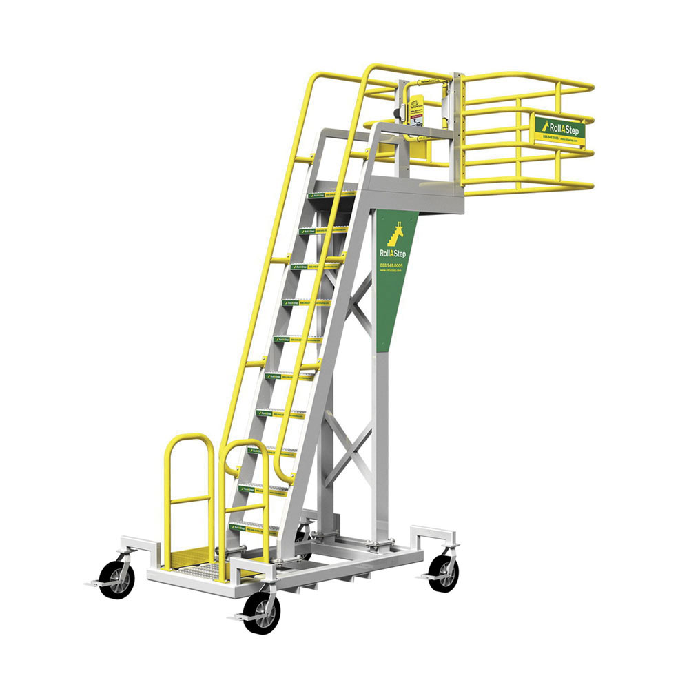 Rollastep® 11781 Aluminum Mobile Cantilever Work Platform, 96 in H, 63.7 in L x 24 in W Platform