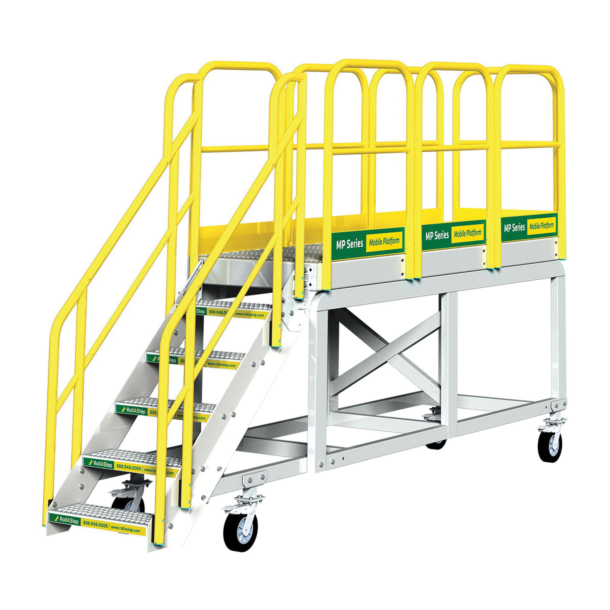 Rollastep® 11786 Aluminum Mobile Work Platform, 27 in H, 2 Step, 104 in L x 36 in W Platform