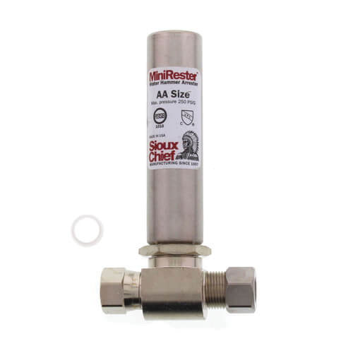 Sioux Chief MiniRester™ 660-GTR1B 304 Stainless Steel Water Hammer Arrester, Compression x Female Compression