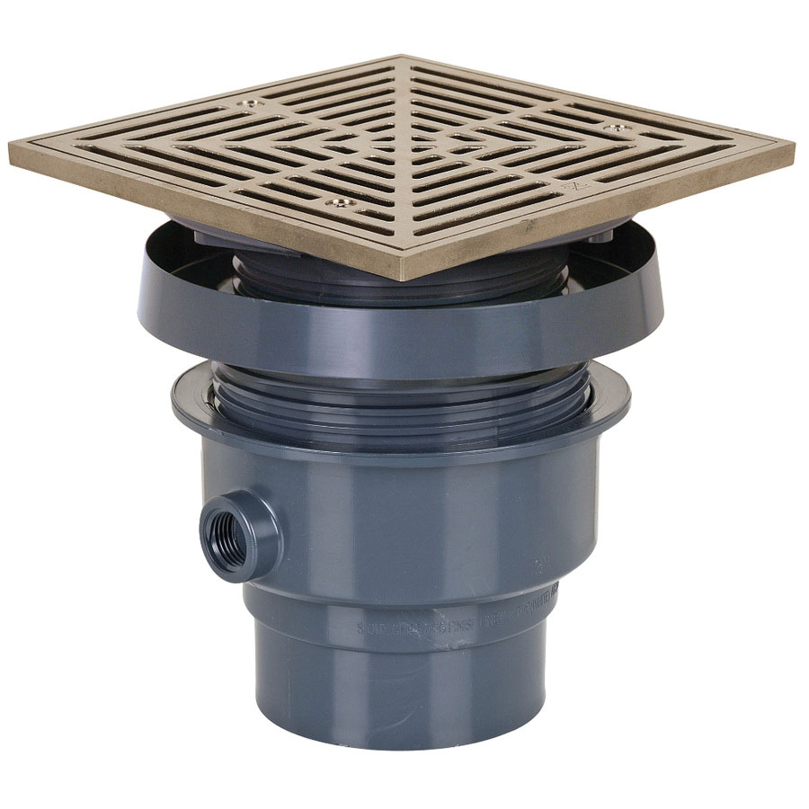 Sioux Chief FinishLine™ 832-36PNQ PVC SCH 40 On-Grade Adjustable Floor Drain, 3 in x 4 in, Hub