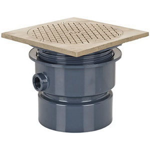Sioux Chief 852-4PNQ PVC SCH 40 On-Grade Adjustable Floor Cleanout, 4 in, Solvent Weld Hub