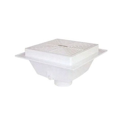 Sioux Chief SquareMax™ 861-3PX White PVC SCH 40 Square Floor Sink, 3 in x 4 in, Hub
