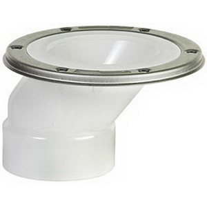 Sioux Chief FullFlush™ 889-POM PVC SCH 40 Offset Closet Flange with Stainless Steel Swivel Ring, 3 in x 4 in, Hub