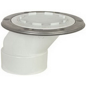 Sioux Chief FullFlush™ 889-POTM PVC SCH 40 Offset Closet Flange with Stainless Steel Swivel Ring, 3 in x 4 in, Hub