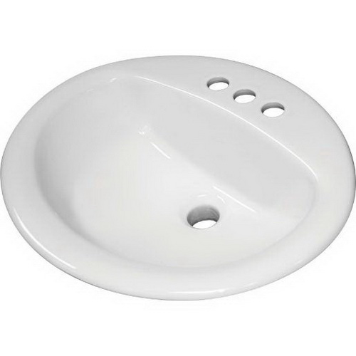 Sloan® SS-3002 White Vitreous China Drop-In Mount Lavatory Sink, 1-Bowl, 3-Faucet Holes