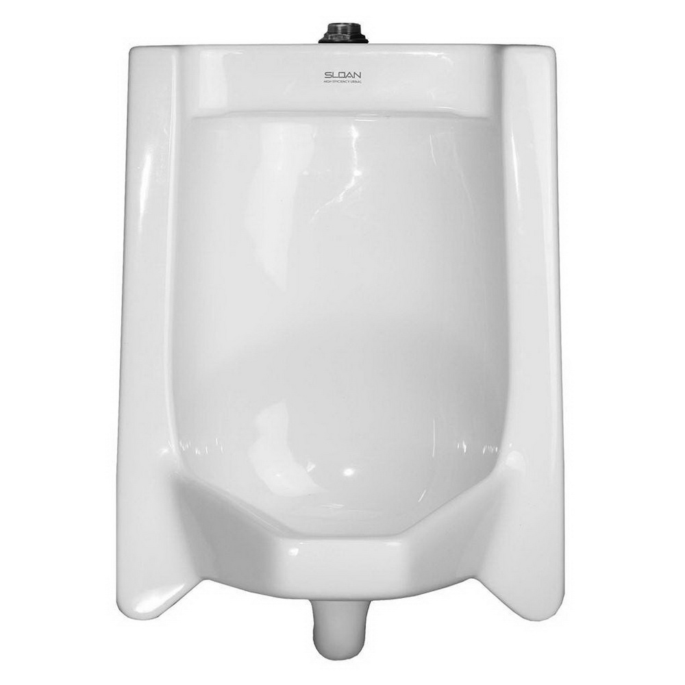 Sloan® SU-1009-A White Vitreous China Wall Mount High Efficiency Standard Urinal, IPS Inlet x NPT Outlet, 0.125 - 0.5 gpf
