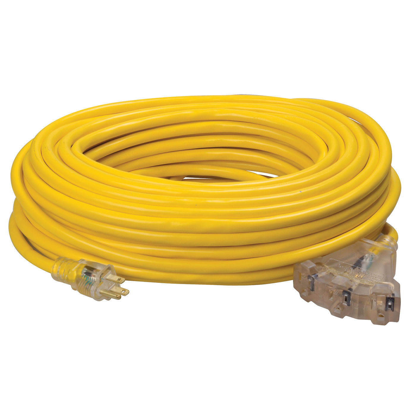 Southwire® 4189SW8802 Yellow Heavy Duty Tri-Source Extension Cord, 100 ft