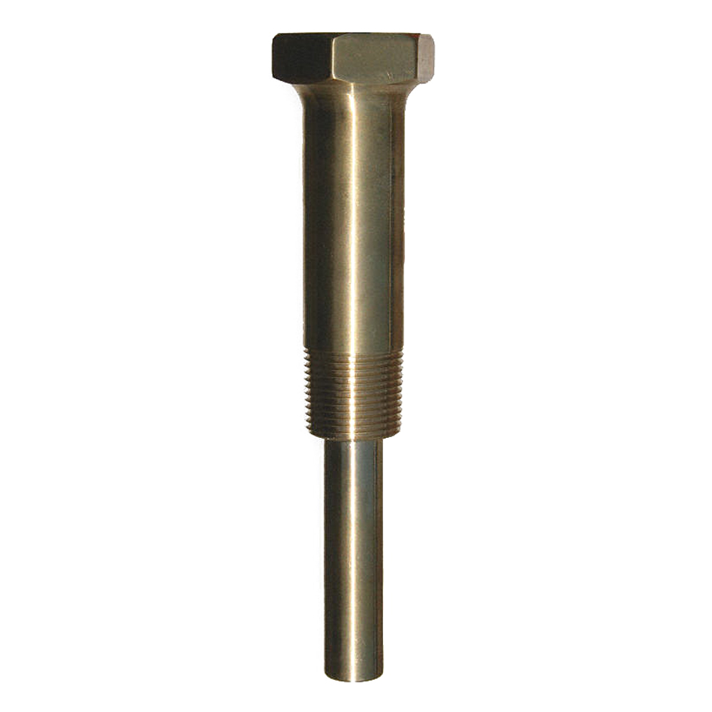 Trerice 3-4FA2 Brass Industrial Thermowell, 1-1/4-18 Straight x 3/4 in NPT, 3-1/2 in L Stem