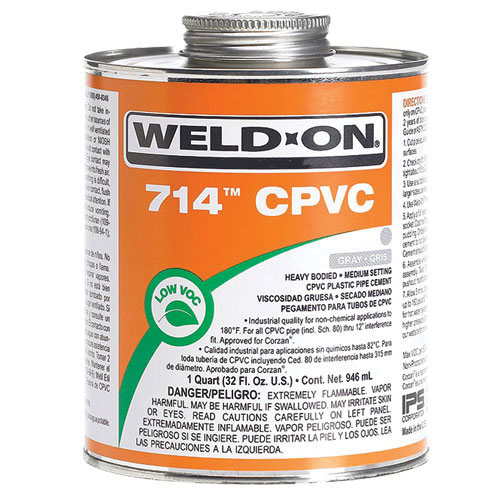 Weld-On® 10131 Heavy Bodied Solvent Cement, 1 qt Can with Applicator Cap, Gray