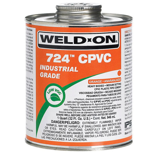 Weld-On® 11659 Industrial Grade Heavy Bodied Solvent Cement, 1 qt Can with Applicator Cap, Gray