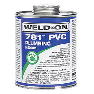 Weld-On® 14005 Medium Bodied PVC Cement, 1 gal Can with Screw on Cap, Clear