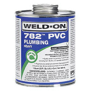 Weld-On® 14021 Heavy Bodied PVC Cement with Brush, 1 qt Metal Can with Applicator Cap, Gray
