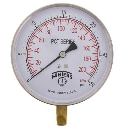 Winter PCT323 304 Stainless Steel Dual Scale Contractor Pressure Gauge, 0 - 100 psi, 4-1/2 in Dial, 1/4 in NPT