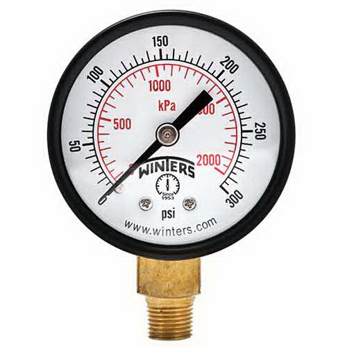Winter PEM202 Black Painted Steel Dual Scale Economy Pressure Gauge, 0 - 100 psi, 2 in Dial, 1/4 in NPT