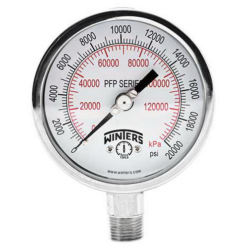 Winter PFP824 White/Black 304 Stainless Steel Dual Scale Pressure Gauge, 0 - 100 psi, 2-1/2 in Dial, 1/4 in NPT