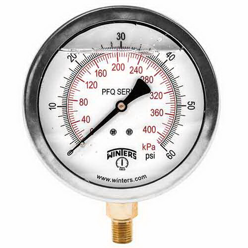 Winter PFQ804 White/Black 304 Stainless Steel Dual Scale Pressure Gauge, 0 - 100 psi, 2-1/2 in Dial, 1/4 in NPT