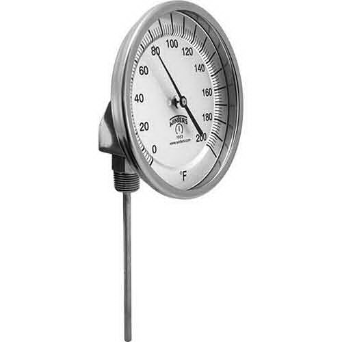 Winter TBM30025B11 Black 304 Stainless Steel Thermometer, 2-1/2 in Stem, 50 - 500 deg F