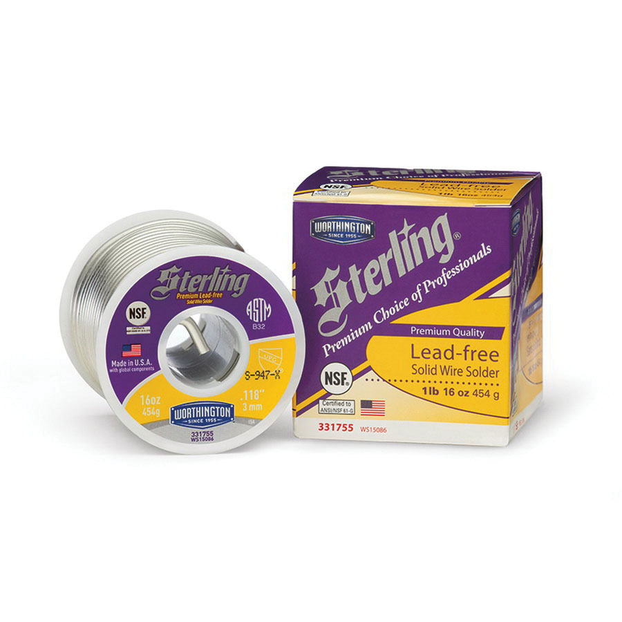 Worthington™ Sterling® 331755 Copper/Selenium/Tin Solder Wire, 0.118 in, 1 lb Spool