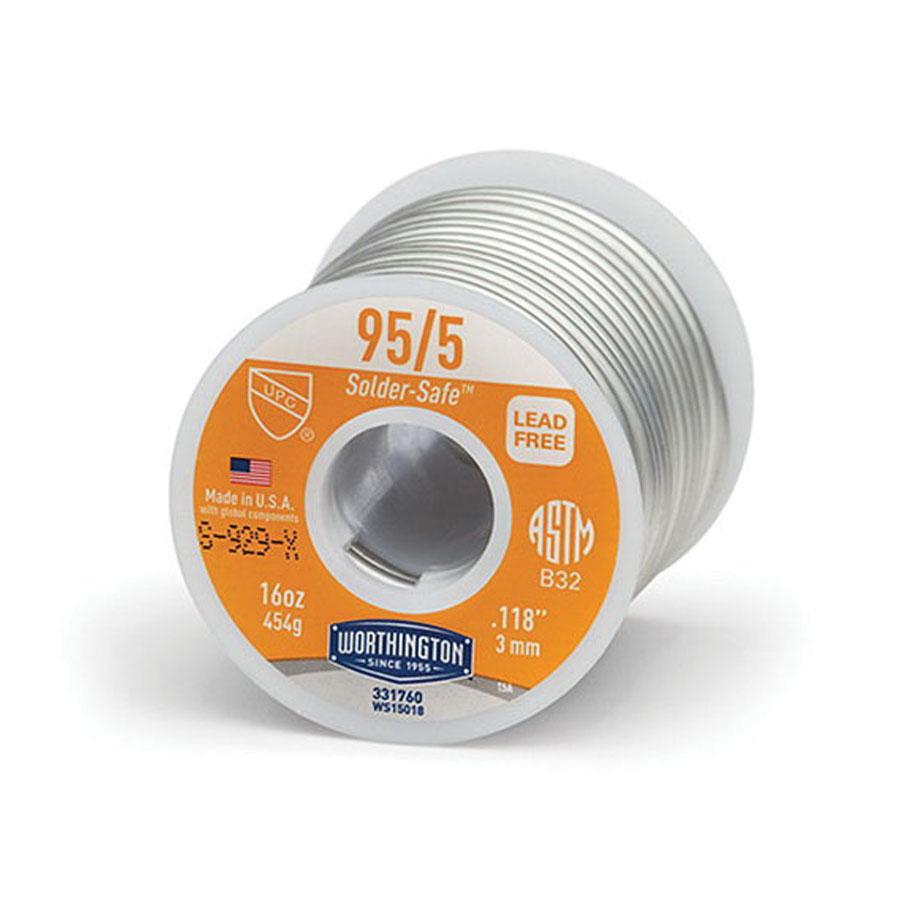 Worthington™ 331760 Tin/Antimony Solder Wire, 0.118 in, 1 lb Spool