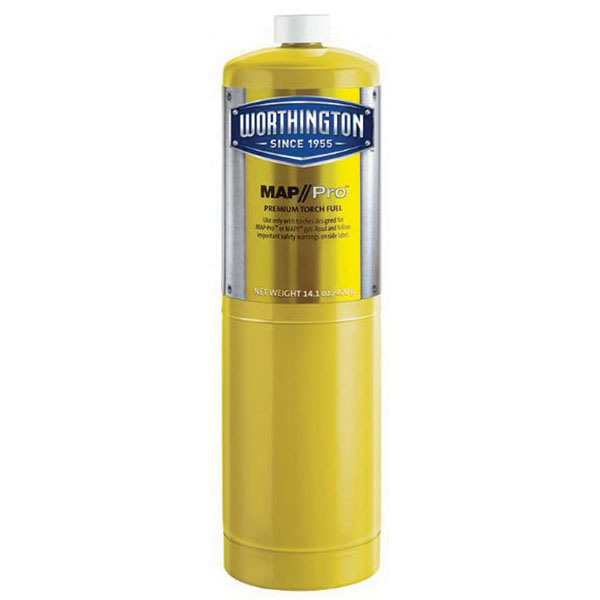 Worthington™ 332401 MAP-Pro Gas Hand Torch Fuel Cylinder, 14.1 oz, #1-20 UNEF RH External Thread, 250 psi