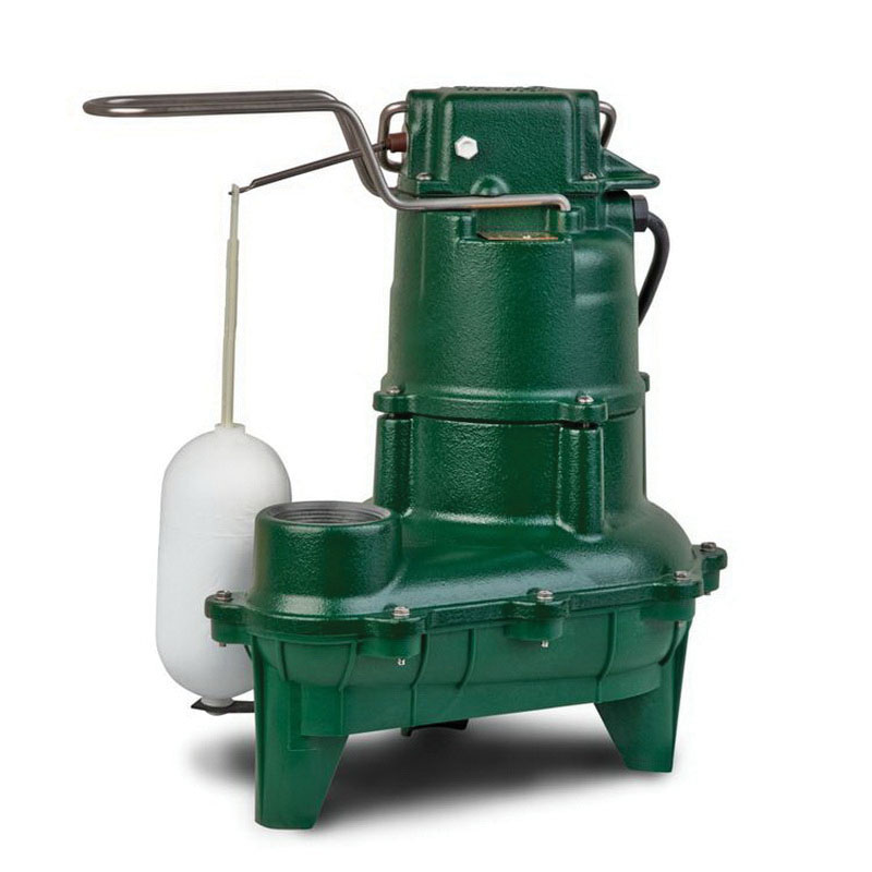 Zoeller® 264-0001 Epoxy Powder Coated Cast Iron 1-Phase Automatic Sewage Pump, 90 gpm, 0.4 hp, 1725 rpm