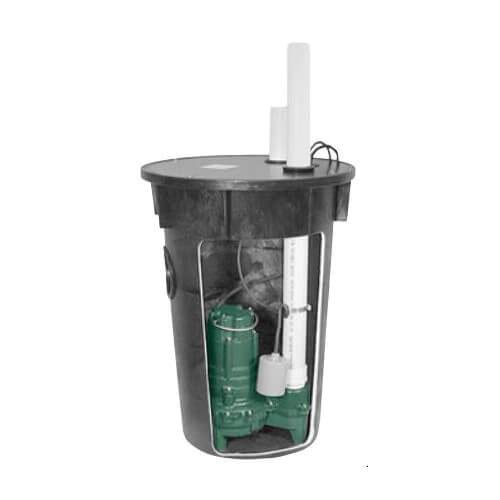 Zoeller® 912-0010 Polyethylene Preassembled Sewage Pump System, 128 gpm